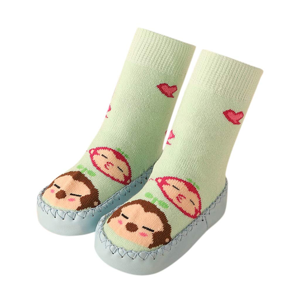 Cute Baby Boys Girls Toddlers Moccasins Cartoon Knitted Non-Skid Indoor Shoes Socks//Slippers First Walker Shoes
