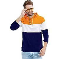 LEWEL Men Cotton Hooded Neck Full Sleeve Color Blocked T-Shirt (Orange, White, Blue)