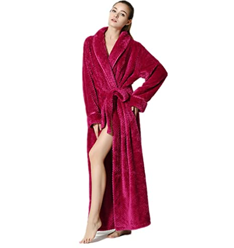 lovehouse Soft Warm Bathrobes Long v Neck Robes Fleece Plush Bathrobe Spa Robe With Pockets Long To Ankle at Amazon Womens Clothing store:
