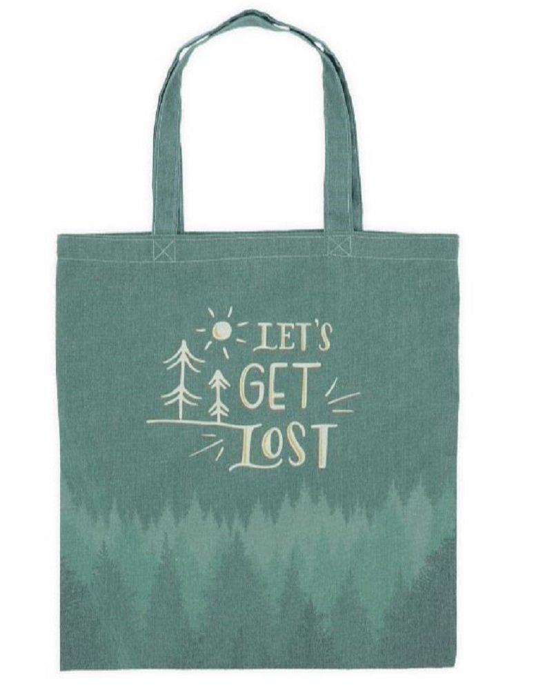 Let's Get Lost Green Canvas Tote Bag, 16 3/4'' Tall X 15'' Wide.