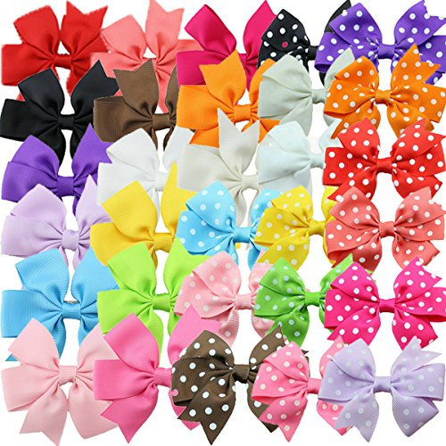 HABIBEE 30pcs Grosgrain Ribbon Hair Bows Alligator Clips for Toddler Baby Girls