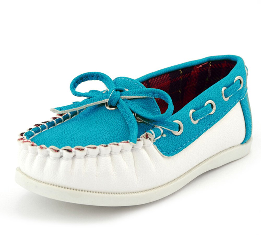 KISS GOLD(TM) PU Leather Slip On Flat Sneaker Loafers Boat Shoes for Toddler Little Kids Big Kids (Blue)