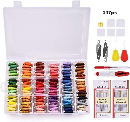 Hilo de bordado, MS.DEAR Kit de inicio de bordado con Organizador ...