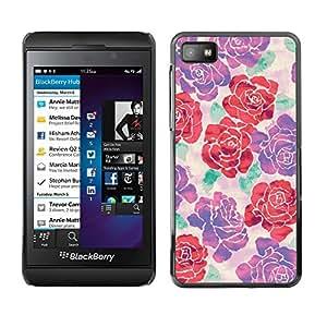 FlareStar Colour Printing Begonia Rose Floral Silk Art Design Spring cáscara Funda Case Caso de plástico para Blackberry Z10