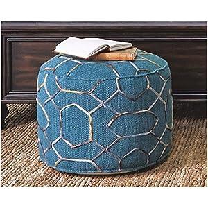 Ashley Furniture Signature Design - Traditional Classics Overdyed Pouf - Versatile Seat & Foot Rest - Dark Green