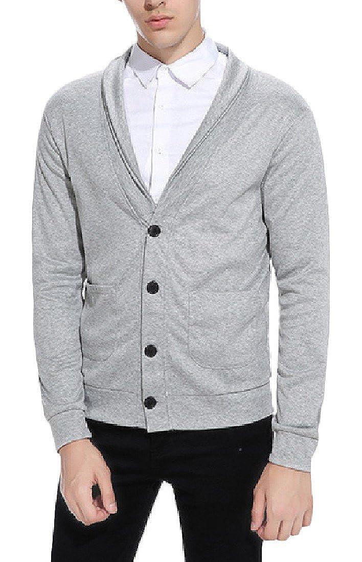 Fieer Mens Big Pockets Long-Sleeve Solid Knitting Cardigan Sweater
