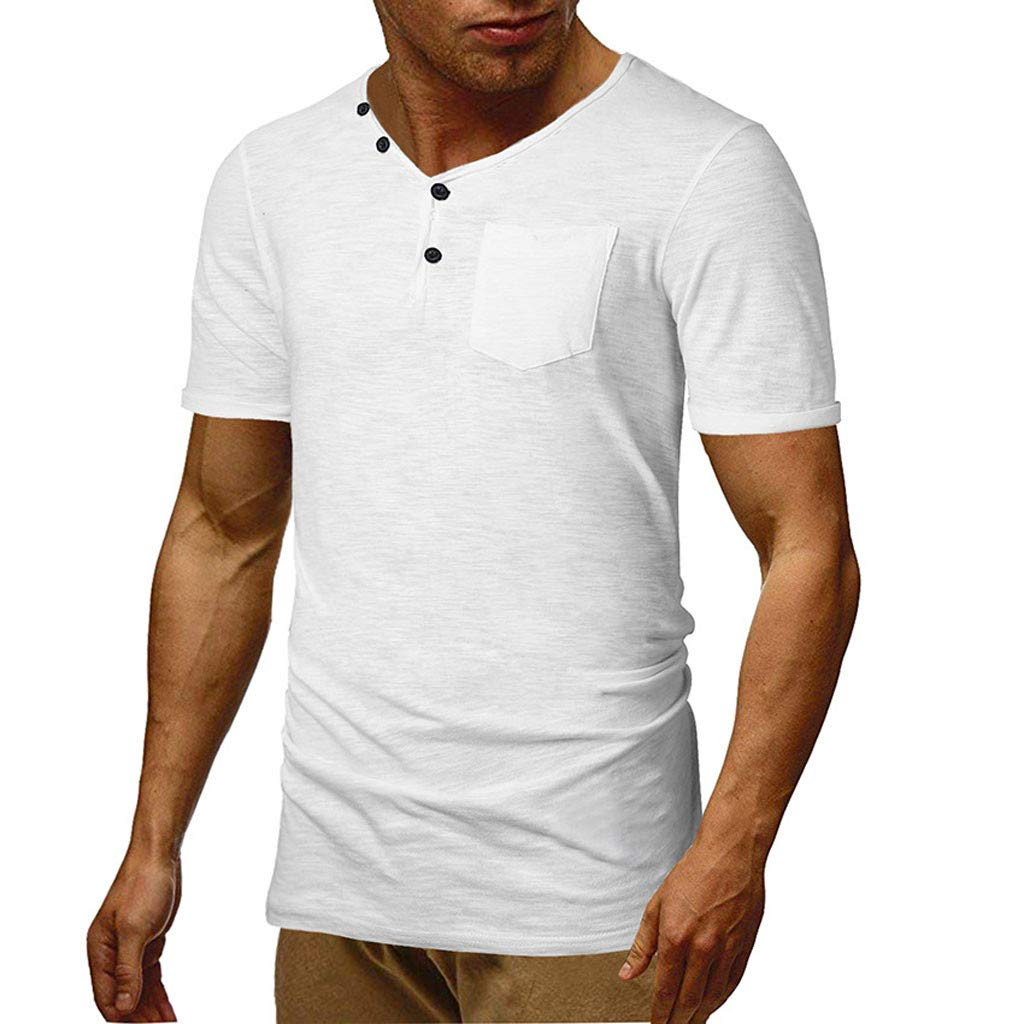 Winsummer Mens Casual Slim Fit Short Sleeve Henley T-Shirts Cotton Shirts