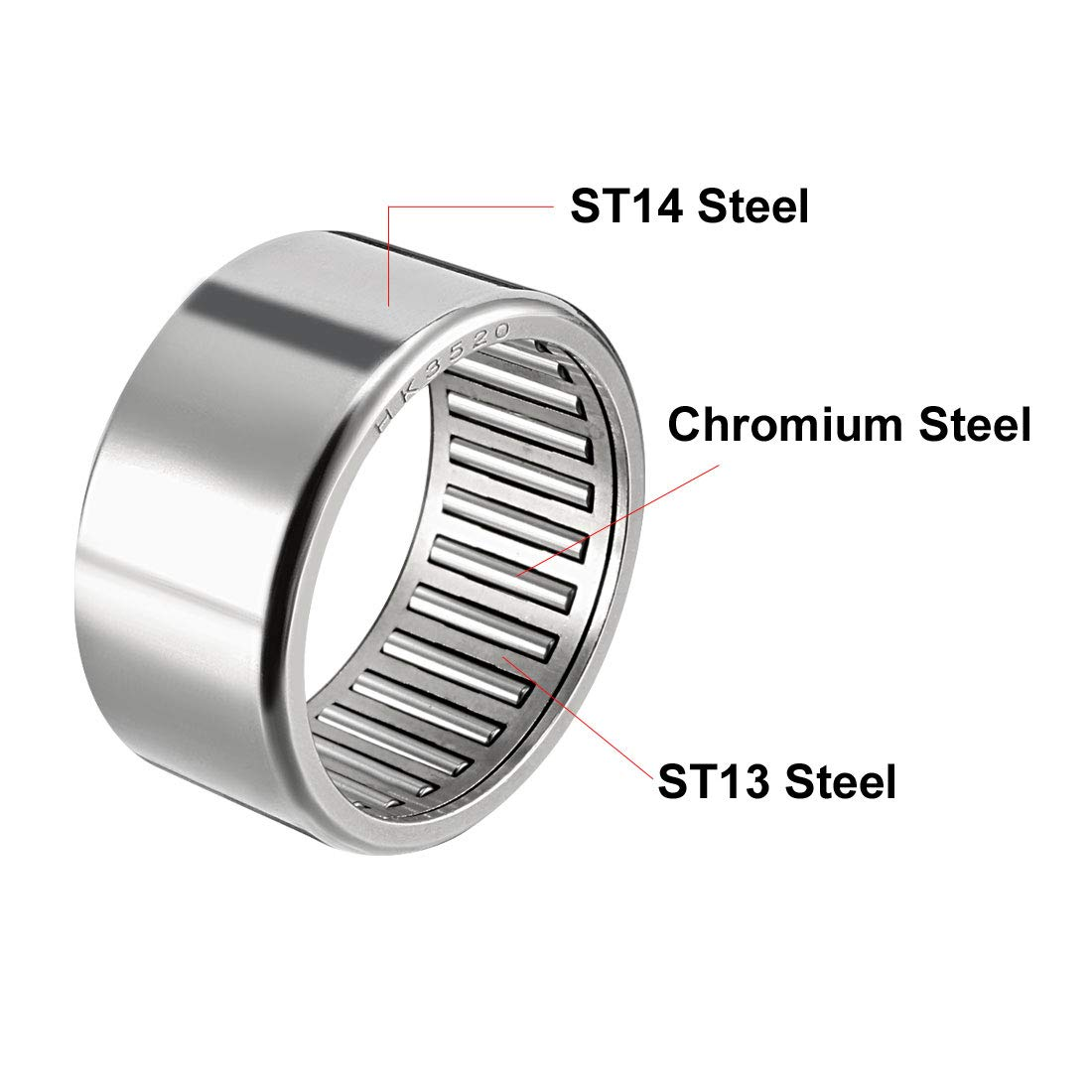 sourcing map HK1812 Drawn Cup Needle Roller Bearings Pack of 1 24mm OD Open End 18mm Bore Dia 12mm Width