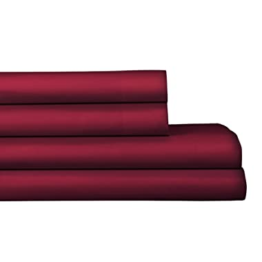 AURAA Elegance 800 Thread Count 100% American Supima Long Staple Cotton Sheet Set,4 Pc Set, Queen Sheets Sateen Weave,Hotel Collection Luxury Bedding,Fits Upto 18  Deep Pocket,Burgundy