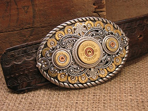 Shotgun & Bullet Casing Oval Western Belt Buckle by SureShot Jewelry & Accessories