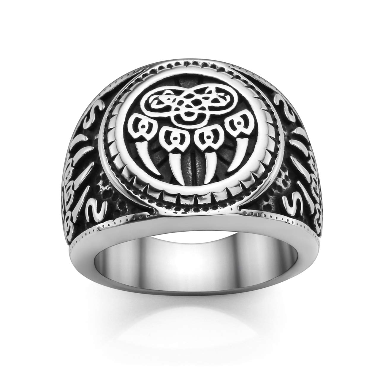 PiercingJ Men's Stainless Steel Viking Norse Celtic Knot Pagan Slavic Nordic Wolf Bear Paw Claw Veles Symbol Men Biker Signet Ring Size 9-13 by PiercingJ (Image #1)