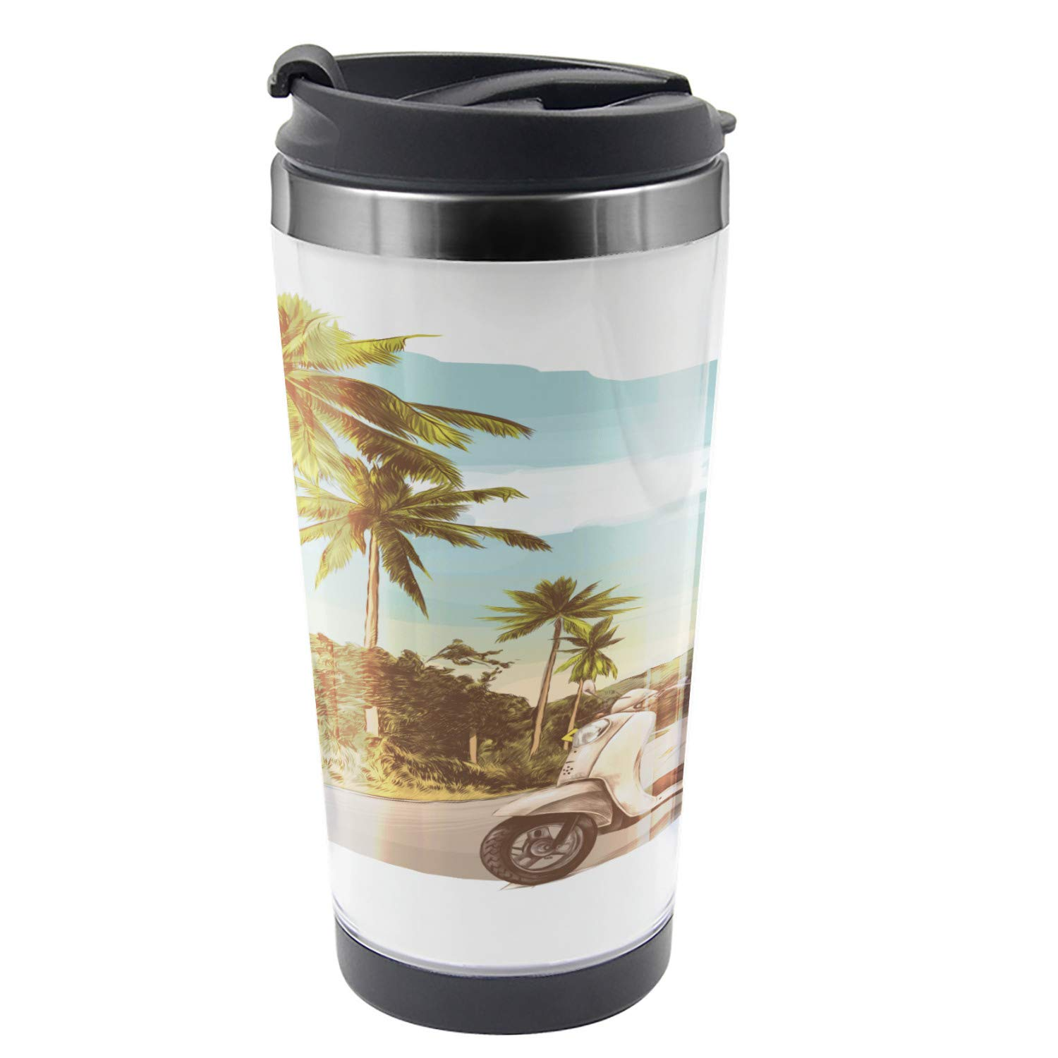 Ambesonne Retro Travel Mug, Vintage Scooter in Jungle, Steel Thermal Cup, 16 oz, Multicolor by Ambesonne