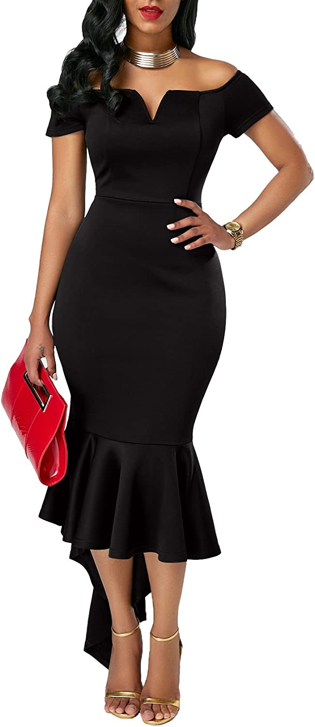 TALLA L. KISSMODA Vestidos Midi para Mujer Off The Shoulder High Low Bodycon Vestido de Noche de Sirena Púrpura