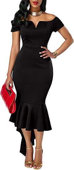 TALLA S. KISSMODA Vestidos Midi para Mujer Off The Shoulder High Low Bodycon Vestido de Noche de Sirena S-negro
