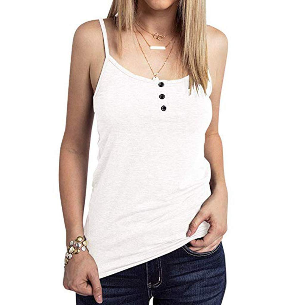 Women's Tank Tops Round Neck Button Sleeveless T-Shirt Casual Loose Solid Blouse (S, White)
