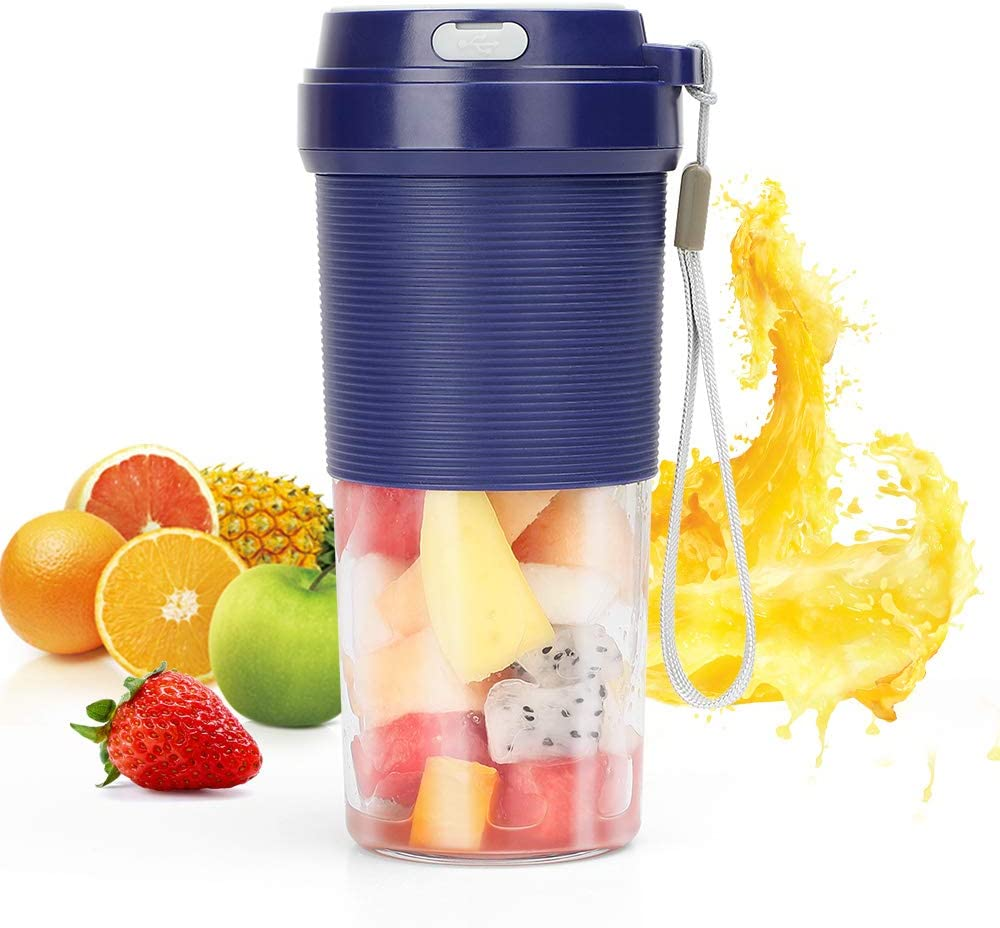 Portable Blender Cordless Personal Blender for Shakes and smoothies POWERGIANT Mini Fruit Juicer Cup Mixer 300ml NO BPA Waterproof Mixer, Small Travel Juicer for Home office Gym USB Rechargeable Blue