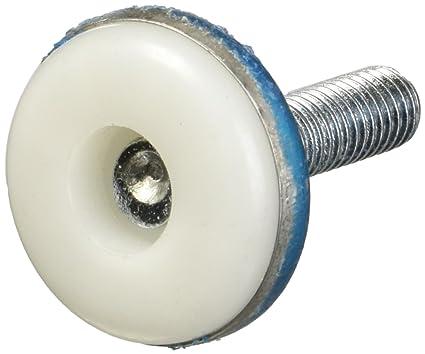 Adjustable Thread M8 x 25mm White Plastic Base Leveller Leveling Foot Furniture Glide