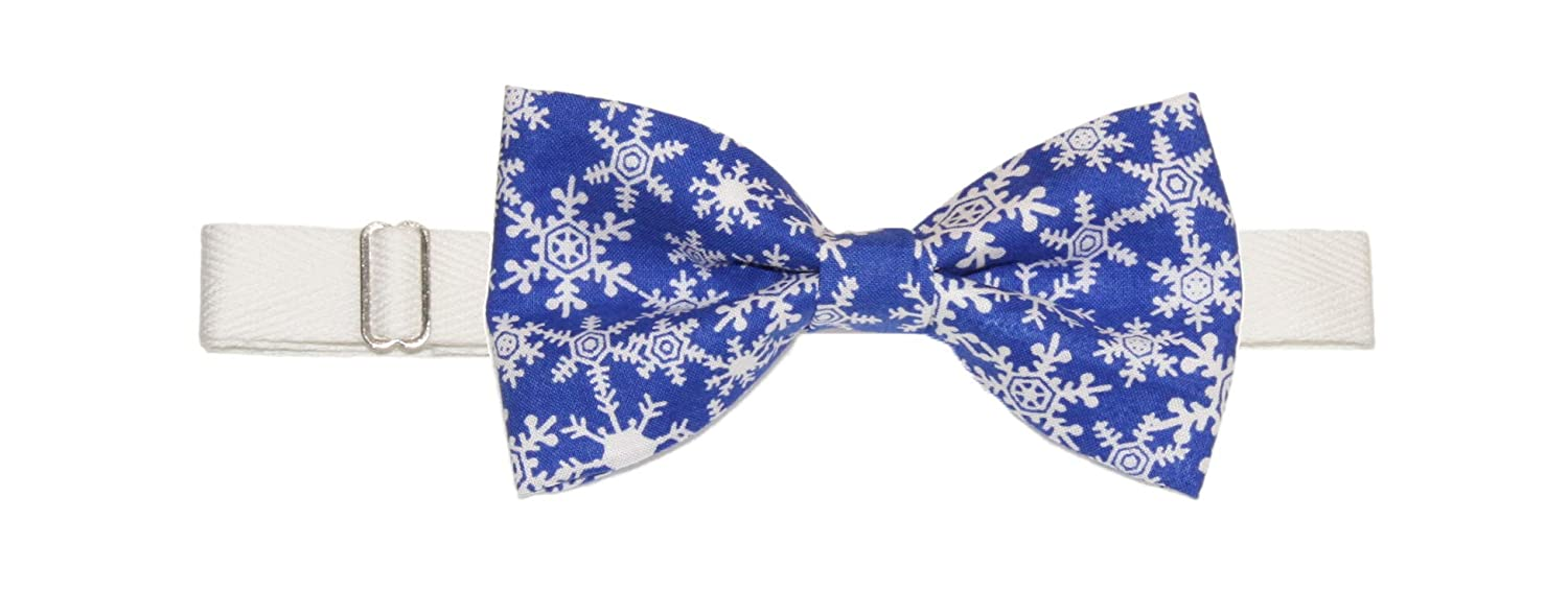 Mens Blue White Snowflakes Pre-Tied Adjustable Cotton Bow Tie