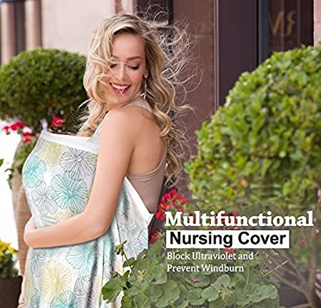 Premium Organic Bamboo Cotton Breastfeeding Cover,Multi Used for Nursing Blanket Full Coverage to Protect Your Privacy,Secret Garden BONTIME Nursing Cover
