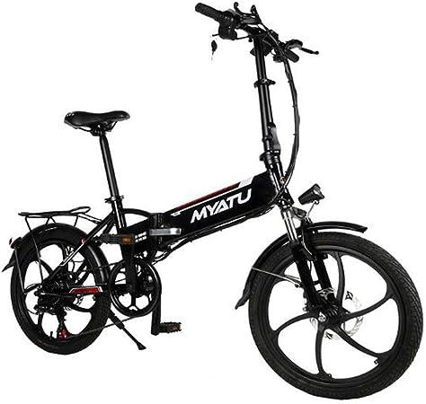 ZBB 20 Pulgadas 6 velocidades 48V / 10AH 250W Bicicleta eléctrica Plegable Ligera Bicicleta eléctrica con Interfaz de Carga USB Batería de Litio Ebike para Adultos,Negro: Amazon.es: Hogar