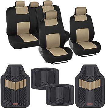 Charcoal Gray Sport Seat Covers Set w// Heavy Duty Carbon Vinyl Floor Mats Set