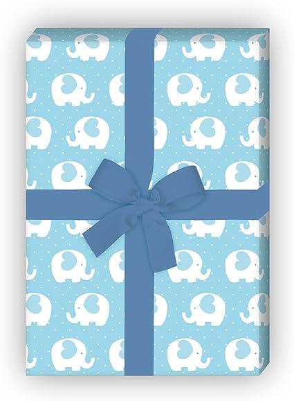 Kartenkaufrausch 4 Bögen Herziges Elefanten Geschenkpapier Set Nicht Nur Für Babys Als Edle Geschenk Verpackung Musterpapier Dekorpapier Zum