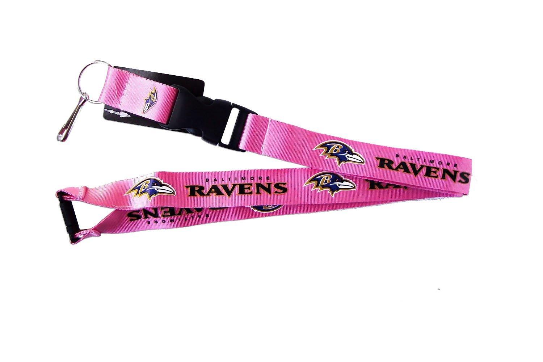 aminco NFL Womens NFL Sports Team Logo Keychain Id Holder Clip Lanyard Pink