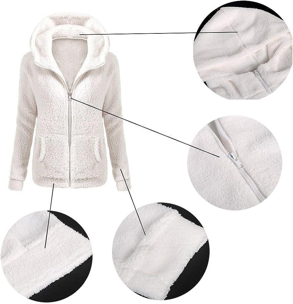 HighPlus Women Thicken Fleece Winter Warm Jacket Hooded Zipper Overcoat Outwear