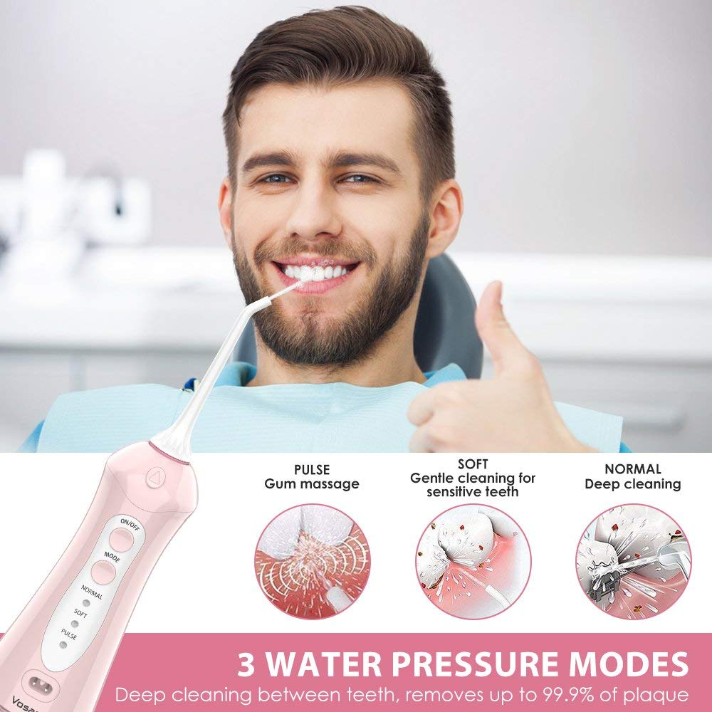 Cordless Water Flosser Oral Irrigator Vosaro Portable Dental Water Pick Teeth Cleaner With 3 Jet Tips, Cordless Flosser For Braces Travel- Anti Leakage Design, Pink 200ML