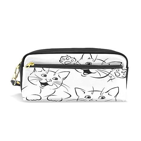 ISAOA Estuche de gran capacidad y bolígrafo de piel sintética para gatos con cremallera blanca para