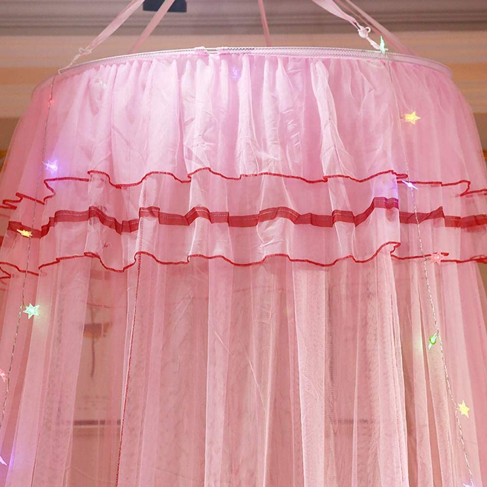 Adarl Princess Bed Canopy Mosquito Net for Kids Dome Bed Curtains Hanging Play Tent for Childrens,Star Light String Not Included,Pink