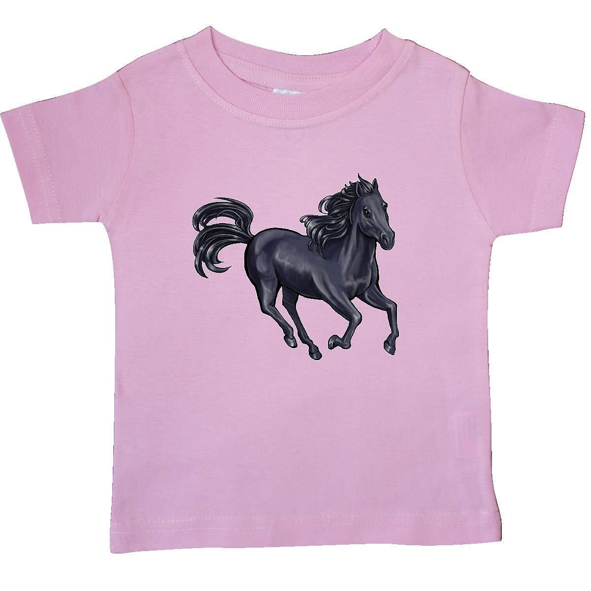 inktastic Beautiful Galloping Black Horse Baby T-Shirt