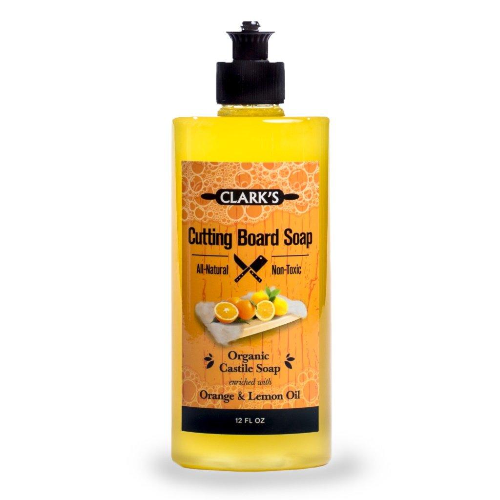 CLARK'S Cutting Board Soap (12oz) | Enriched with Lemon & Orange Oils | Organic & 100% Natural | Butcher Block Cleaner