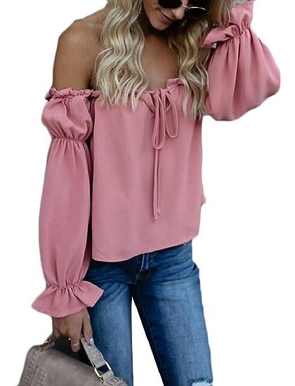 6b948c1ce00b38 Jmwss QD Women Off The Shoulder Chiffon Long Sleeves T Shirt Bow Tie Casual  Top Blouse at Amazon Women s Clothing store