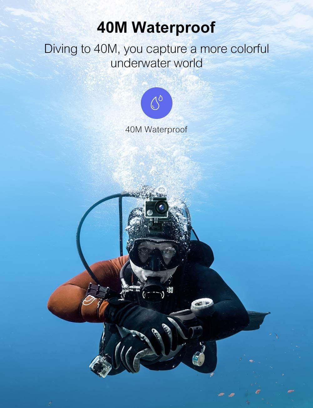 OCEANO 794 C/ámara de Acci/ón DV C/ámara USB 2.0 1080P a Prueba de Agua Pantalla de Alta Definici/ón de 2.0  C/ámara Bajo el Agua C/ámara Deportiva Gran Angular de 140 /° Bater/ía Incorporada de 900 mAh