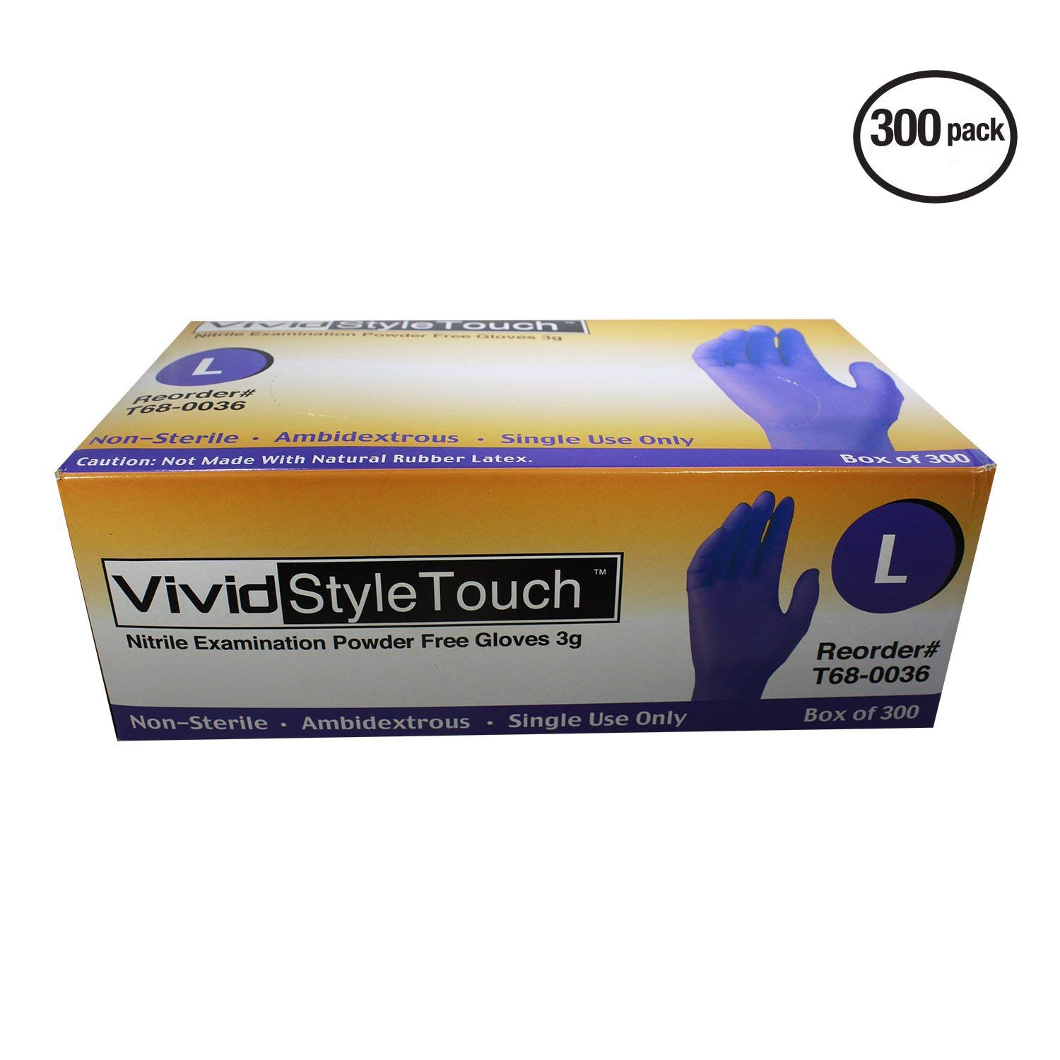 VIVID StyleTouch Purple Nitrile Latex Non Sterile Gloves – for Home, Medical, Professional Use – Disposable – Food Safe, Rubber Free – 2.7 mil, Pack of 300 (Large), StyleTouch by Vivid (Image #2)