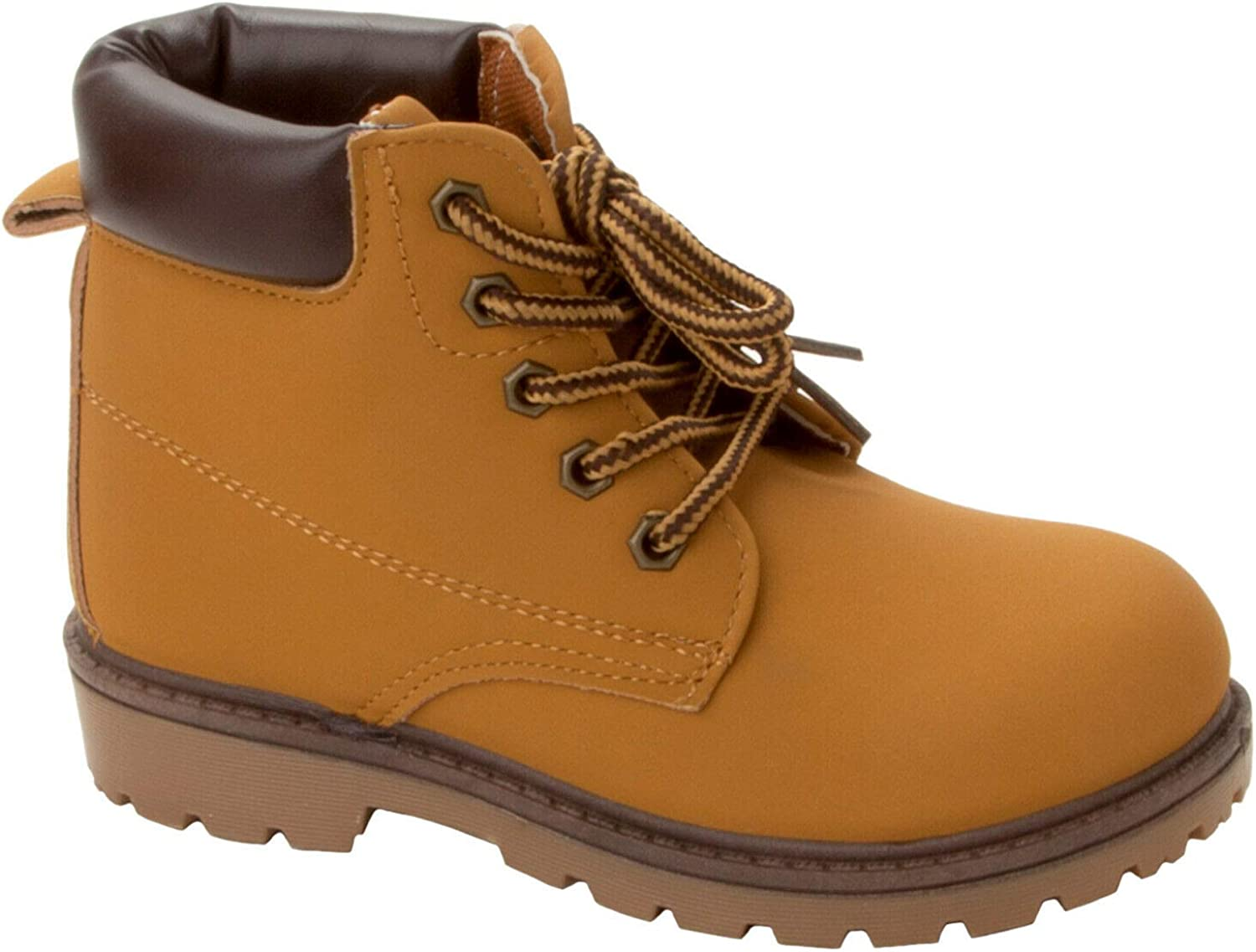 Boys TAN LACE UP Casual Winter HI TOP Ankle Desert Walking Boots Shoes Kids Size