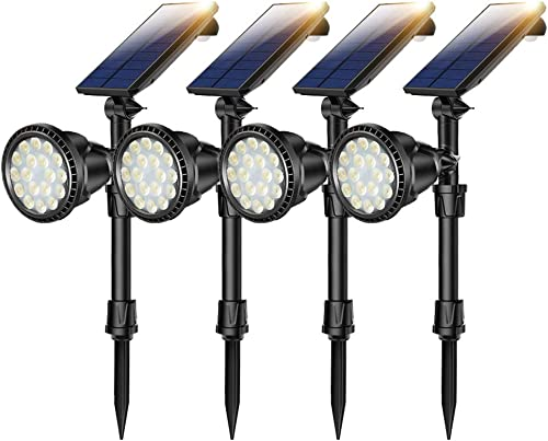 4 PCS Motion Sensor Solar Spot Lights Outdoor,18 LED Landscape Lamps Waterproof Flood Lamp for Deck Yard Garden Garage Driveway Easy Install Yellow Light