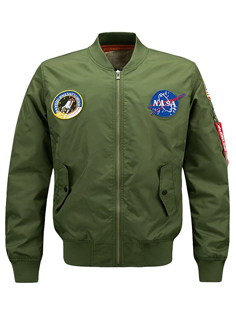 Lavnis Men's Hip Hop Jacket Air Sky Flight Patch Embroidery Slim Fit Bomber Jackets VGS88