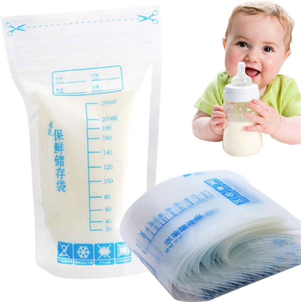 30 bolsas de almacenamiento de leche materna, 250 ml, cierre de cremallera desechable, seguro para bebés, leche materna, bolsas de almacenamiento de pie as picture show Talla:30pcs