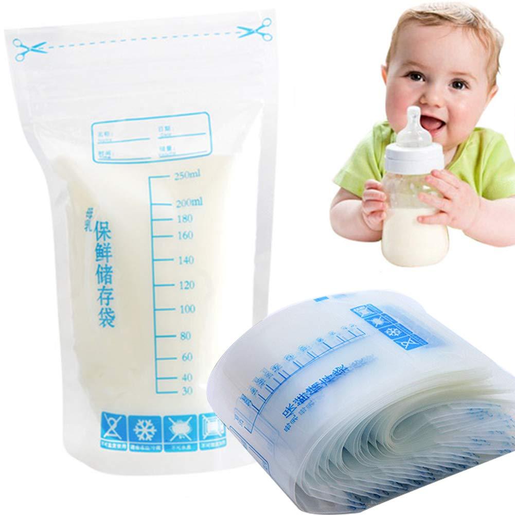 30 bolsas de almacenamiento de leche materna, 250 ml, cierre de cremallera desechable, seguro para bebés, leche materna, bolsas de almacenamiento de ...