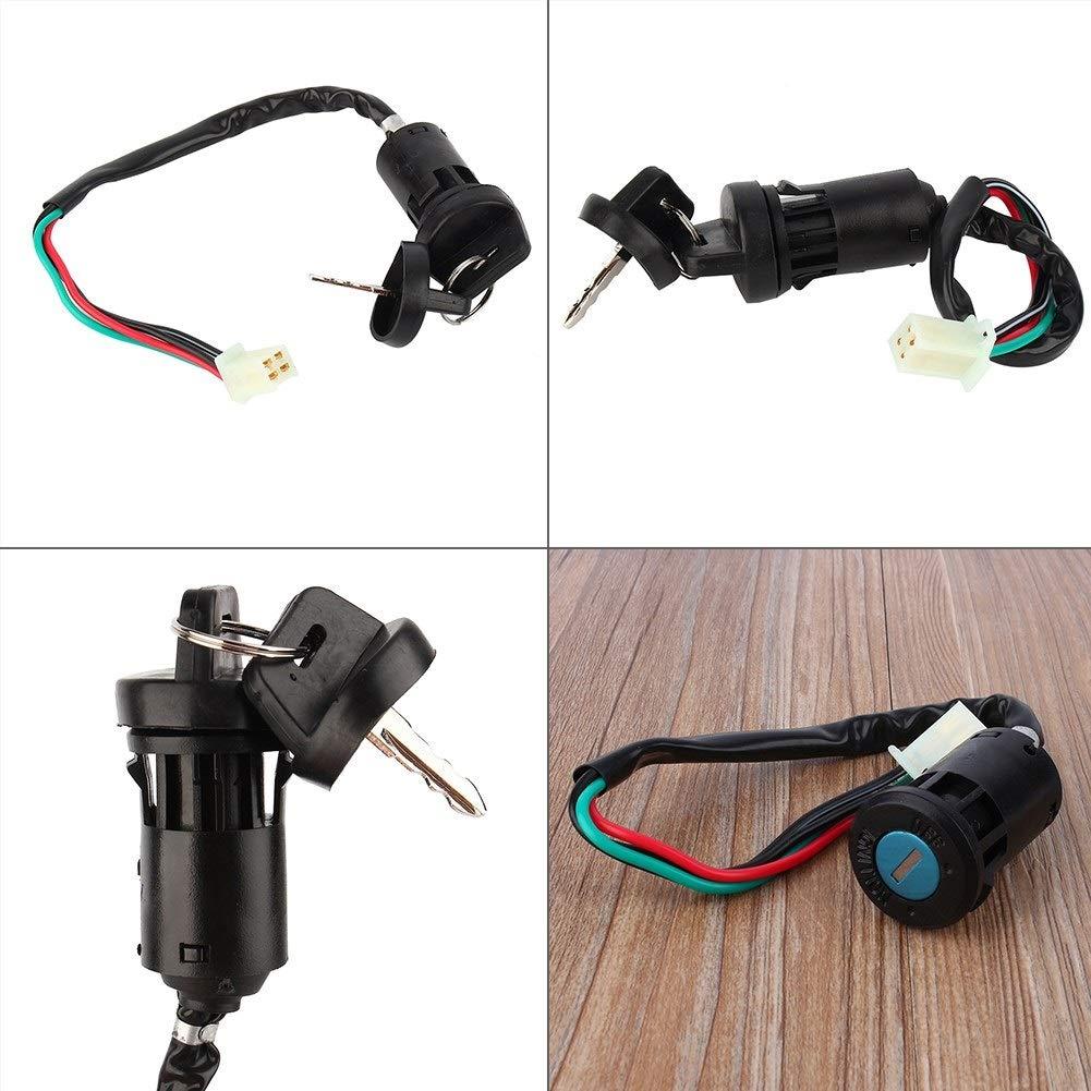 Motorcycle Engine Start Key Switch-4 Pin 1 Key Universal Motorcycle Engine Start Ignition Key Switch Waterproof CO for 50 90 110 125cc ATV TAOTAO Bike