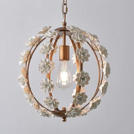 Lovedima Modern Globe Pendant Light White Ceramic Flowers 1 Light Hanging Light Fixture For Kitchen Island In Gold Finish