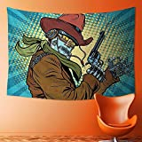 SOCOMIMI Home Decor Tapestry by Steampunk Western Style Robot Cowboy Makes OK Gesture Illustration Petrol Blue and Brown Wall Hanging for Bedroom Living Room Dorm