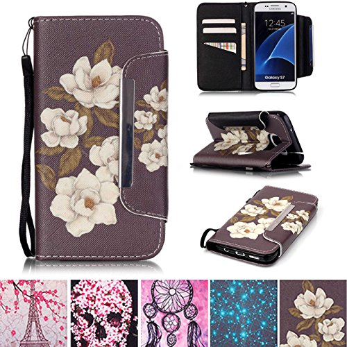 Click to buy Galaxy S7 Case, [Kickstand] [Shock Proof] Double Protective Case Flip Folio Slim Magnetic Cover with Wrist Strap for Samsung Galaxy S7- Begonia - From only $7.99