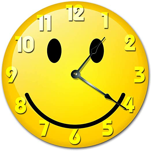 Sugar Vine Art Smiley FACE Clock Decorative Round Wall Clock Home Decor Wall Clock Large 10.5 Novelty Clock