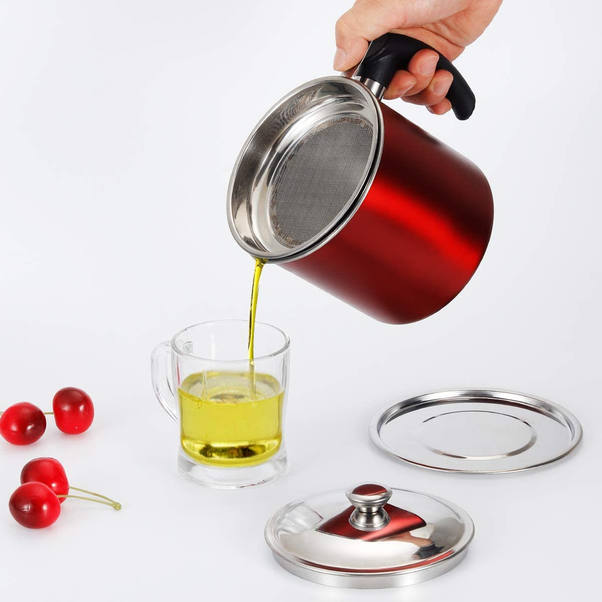 Food Grade Stainless Steel Bacon Grease Container with Strainer, Oil Pot Cooking Oil Filter Keeper Storage Can for Bacon, Kitchen Cooking or Frying Oil (RED)