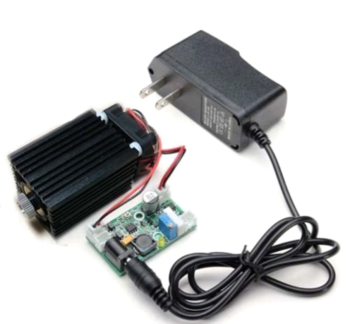Focusable 450nm 2W 2000mw NDB7875 Diode Blue Laser Dot Module W/Driver out+TTL 12V Wood Cutting/Engraving + Adapter