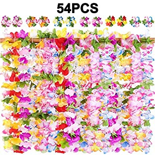 jollylife 54PCS Hawaiian Luau Leis Necklaces Wristbands Tropical Hibiscus Flowers Tiki Summer Pool Party Favors Supplies Decorations