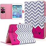 iPad Mini Case, iPad Mini 2/3 Case, Dteck(TM) Cartoon Cute Flip Folio Stand PU Leather Case with Cards Slots Full Body Protective Magnetic Cover for Apple iPad Mini 3 2 1 (01 Red Waves)